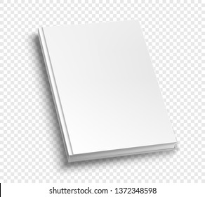 White hardcover scuare book album vector mock up on grey table.  Closed book top view vector illustration