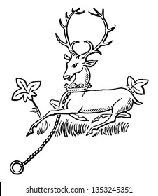 The White Hart are the generally charged with the paternal arms of the deceased vintage line drawing or engraving illustration.