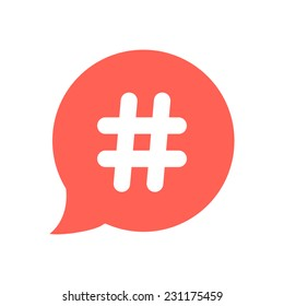 white hashtag icon in red speech bubble. concept of number sign, social media and web communicate. isolated on white background. flat style trendy modern vector illustration