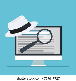 White hat seo banner. Magnifier, and other search engine optimization tools and tactics. Vector flat illustration
