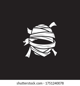 a white head of mummy logo with modern style