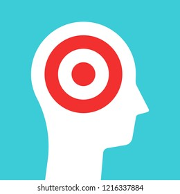 White head silhouette with target inside it. Goal, concentration and purpose concept. Flat design. Vector illustration, no transparency, no gradients