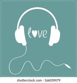 White headphones with cord. Dash line. Love card. Vector illustration.