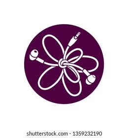 White headphones tangle thread line icon design