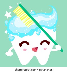 White healthy tooth brushing toothbrush and toothpaste. The tooth is very happy. Brush your every day. Dental health and beauty.