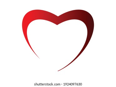 White Heart Icon Outlined in red
