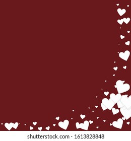 White heart love confettis. Valentine's day corner classy background. Falling stitched paper hearts confetti on maroon background. Delightful vector illustration.