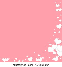 White heart love confettis. Valentine's day corner comely background. Falling stitched paper hearts confetti on pink background. Delightful vector illustration.