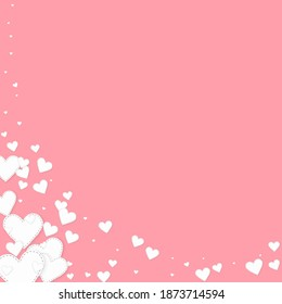 White heart love confettis. Valentine's day corner cute background. Falling stitched paper hearts confetti on pink background. Enchanting vector illustration.
