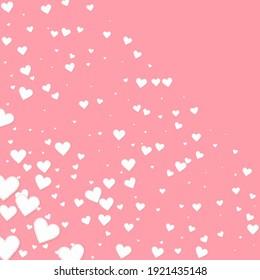 White heart love confettis. Valentine's day corner bizarre background. Falling stitched paper hearts confetti on pink background. Elegant vector illustration.