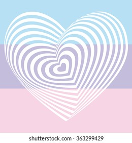 white heart on light pink aqua sky blue lilac purple background. Optical illusion of 3D three-dimensional volume. Vector