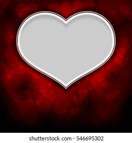 White heart on red background of silhouettes of hearts of different sizes