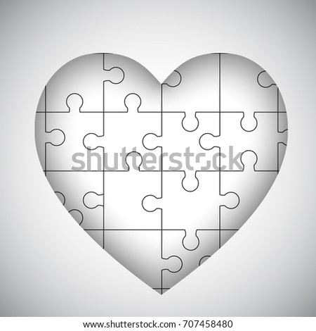 white heart puzzle template stock vector royalty free 707458480