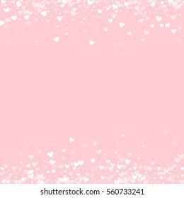 White hearts confetti. Borders on pale_pink valentine background. Vector illustration.