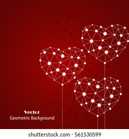 White hearts made of connected lines and dots on red background. Icon for medicine, science, technology , chemistry and Valentines Day.