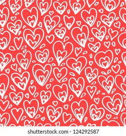 White hearts on red seamless pattern, vector