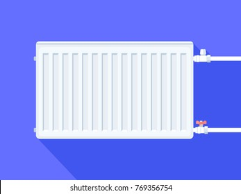 White heating radiator. Home heating system. Vector illustration