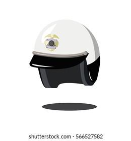 white helmet motorcycle police cop USA.