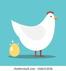 White hen laying shiny gold egg on turquoise blue background. Investment, wealth, profit and luck concept. Flat design. Eps 8 vector illustration, no transparency, no gradients