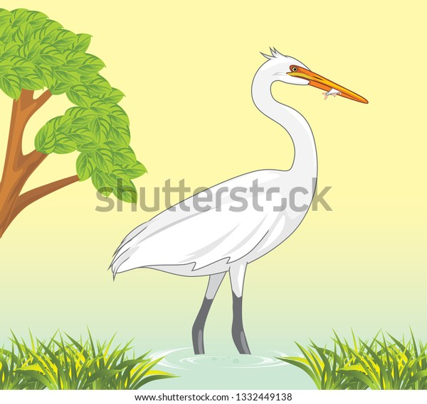 white-heron-caught-fish-pond-600w-133244