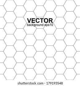 White hexagonal texture, seamless vector background.
