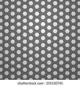 White Hexagons On A Dark Gray Surface Vector Pattern
