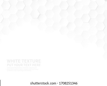 White hexagons. Technologic hexagonal pattern, geometric honeycomb gradient wallpaper, 3d paper style abstract advertising vector structure background