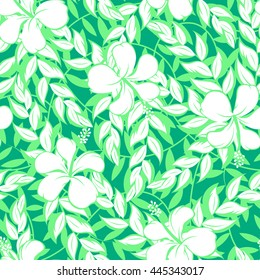 White hibiscus flowers and leaf seamless pattern .