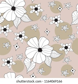white hibiscus on beige tan seamless background with polka dots