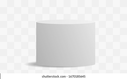 White high ellipse cylinder vector mockup with shadow on a transparent background. 3d minimalist contest pedestal isolated on a background. Podium platform for the item or award winner.