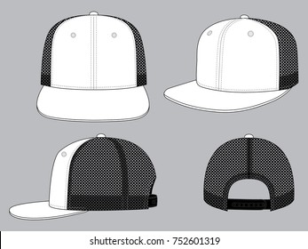 White Hip Hop Cap Design (Black Net) 2da60ad0fabe