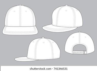 White Hip-Hop Cap Vector for Template.