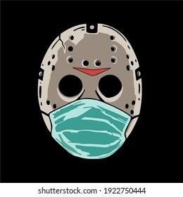 white hockey mask wearing a mask