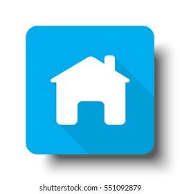 White Home icon on blue web button