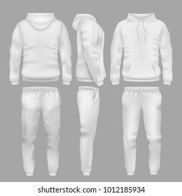 White hooded sweatshirt with sports trousers. Active sport wear hoodie and pants vector templates. Sportswear sweatshirt hoodie and urban pants illustration