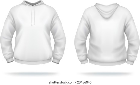 White hoodie design template (front & back). VECTOR, contains gradient mesh elements.