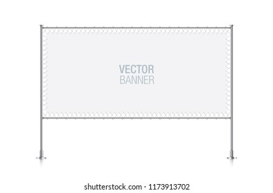 White horizontal banner stretched with ropes on a metallic pillar frame.