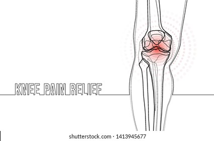 White horizontal continuous line drawing concept banner about knee pain relief.