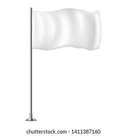 White horizontal flag on flagpole flying in the wind, isolated on white background.