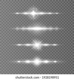 White horizontal lens flares pack, laser beams, light flare. Laser beams, horizontal light rays.