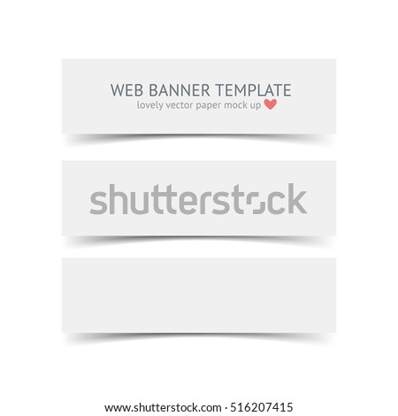white horizontal paper banners shadows isolated stock vector