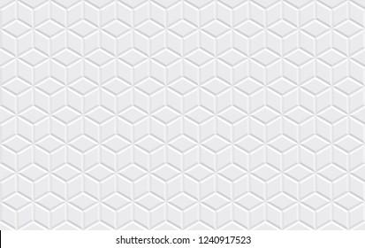 White horizontal seamless tiles texture. Isometric modern grid volumetric texture. Vector illustration