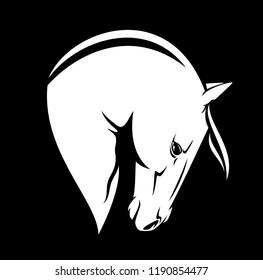 white horse head profile outline - monochrome vector design
