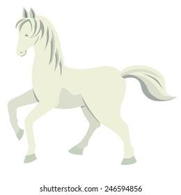 White horse on a white background.