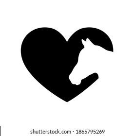 White horse vector head face silhouette drawing illustration in heart frame shape on black background .Love horses sign icon.T shirt print. Laser Cut.Plotter Cutting. Vinyl wall sticker decal.