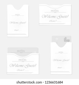 White hotel key card holder set. Horizontal and vertical keycard sleeves - with RFID key card inside and empty. Vector template.
