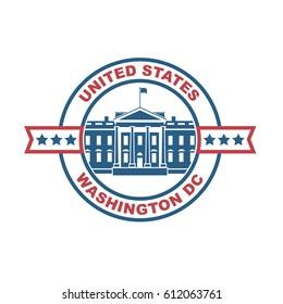 White house building icon in Washington DC. Vector illustration