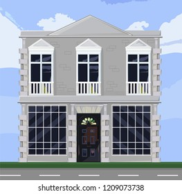 White house facade architecture Vector. Store or boutique front with big windows. Shop facade. Office rentals. Vector detailed illustrations