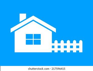 White house icon on blue background
