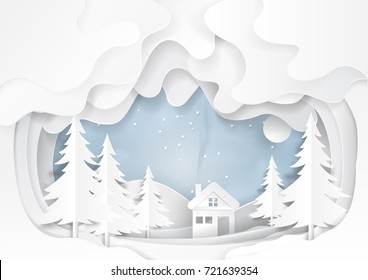 White house on snow winter background.For merry Christmas and happy new year paper art style.Vector illustration.